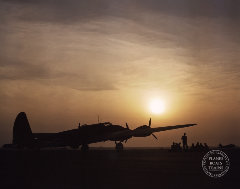 Sunset silhouette of flying fortress, Langley Field, Va