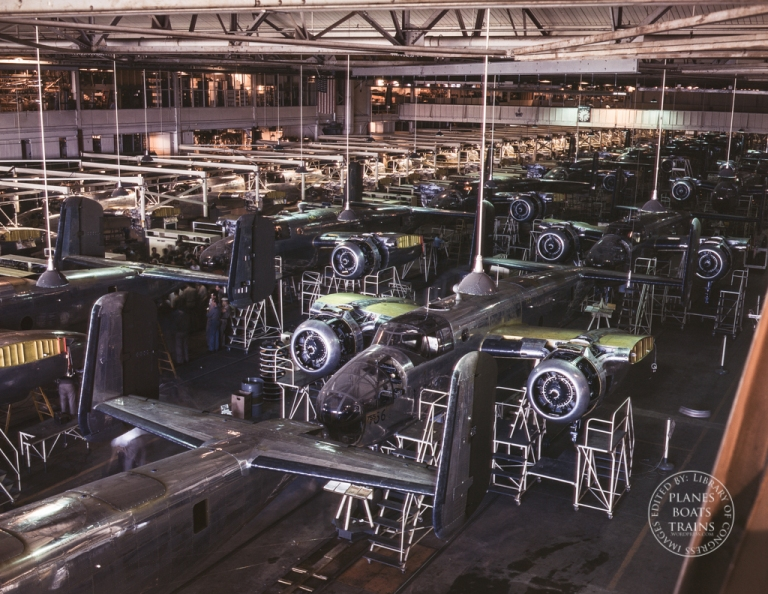 View of the B-25 final assembly line at North American Aviation's Inglewood, California, plant